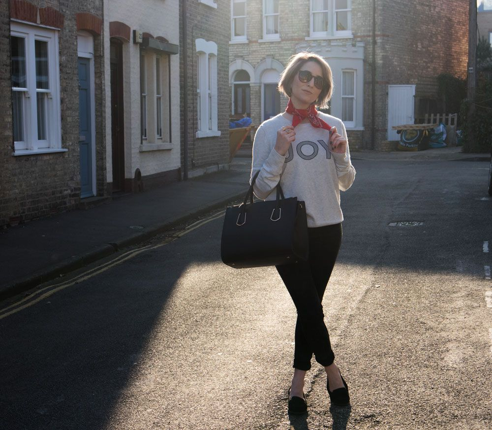 winter look, grey Joy knit, ankle grazers and black loafers + red neckerchief