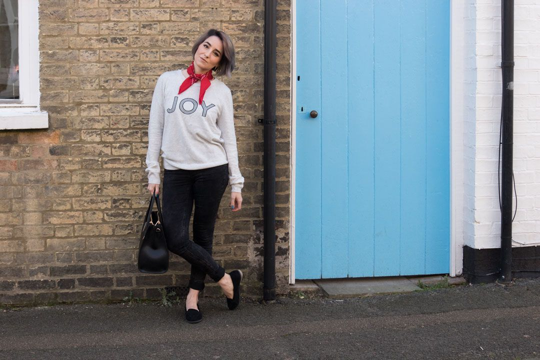 winter look, grey Joy knit, ankle grazers and black loafers + red neckerchief + blue door